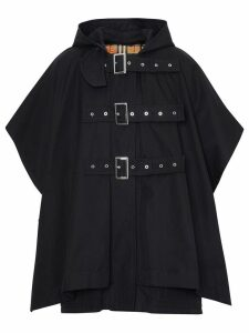 Burberry Triple Buckle Cotton Gabardine Cape Coat - Black