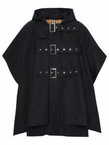 Burberry Triple Buckle Cotton Gabardine Cape Coat - Black