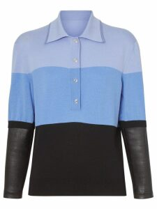 Burberry long-sleeve leather detail polo shirt - Blue