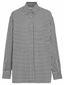 Burberry Puff-sleeve Gingham Cotton Shirt - Black
