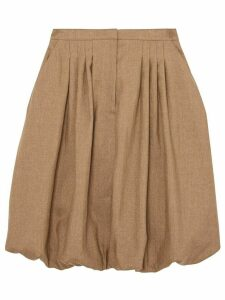 Burberry Linen Blend Bubble Hem Skirt - Brown