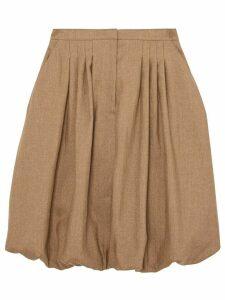 Burberry Linen Blend Bubble Hem Skirt - Brown
