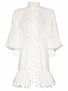 Zimmermann Ninety-Six wave-trim mini dress - White