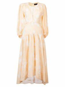 Proenza Schouler Rose Imprint Long Sleeve Dress - Neutrals