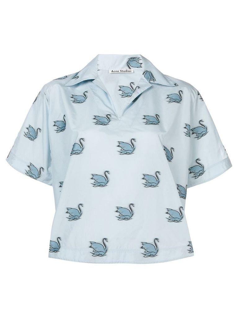 Acne Studios swan print shirt - Blue