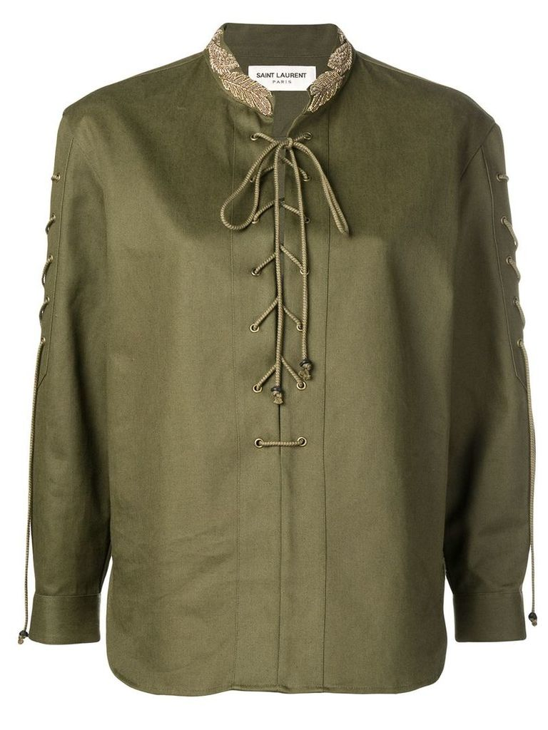 Saint Laurent embroidered lace-up shirt - Green