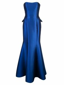 Marchesa Notte long strapless dress - Blue