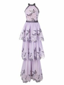 Marchesa Notte embroidered sleeveless dress - Purple