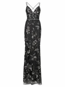 Marchesa Notte long floral dress - Black