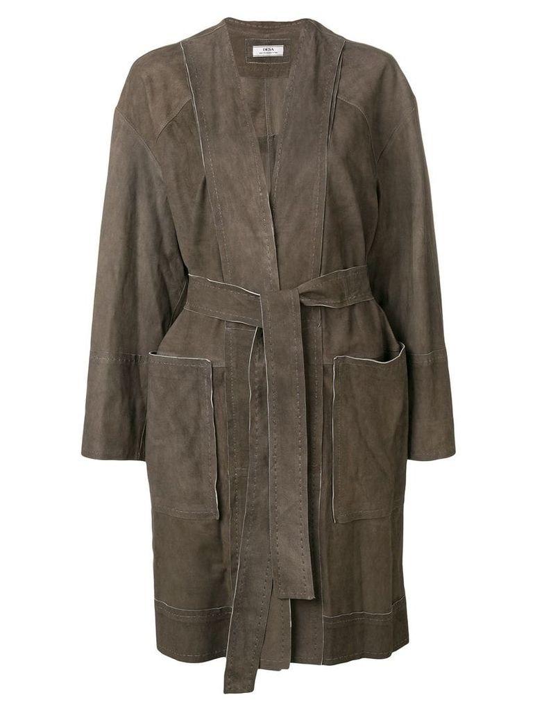 Desa 1972 suede belted coat - Brown