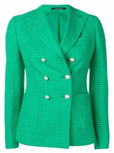 Tagliatore double breasted check blazer - Green