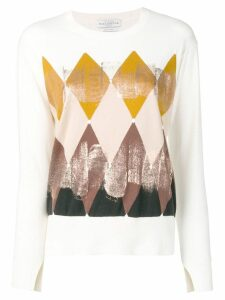 Ballantyne geometric print knitted top - White