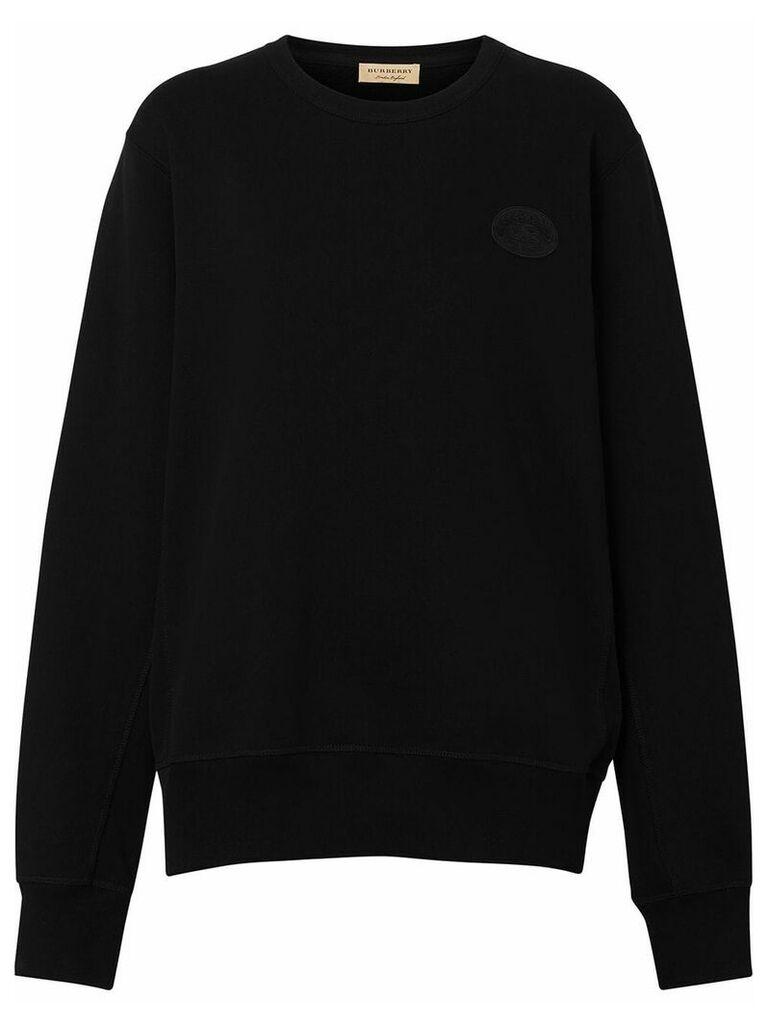 Burberry Crest Detail Cotton Sweatshirt - Black