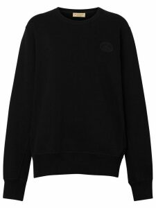 Burberry Crest Detail Cotton Sweatshirt - Black