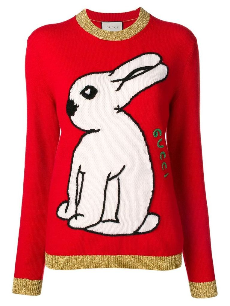 Gucci rabbit embroidered sweater