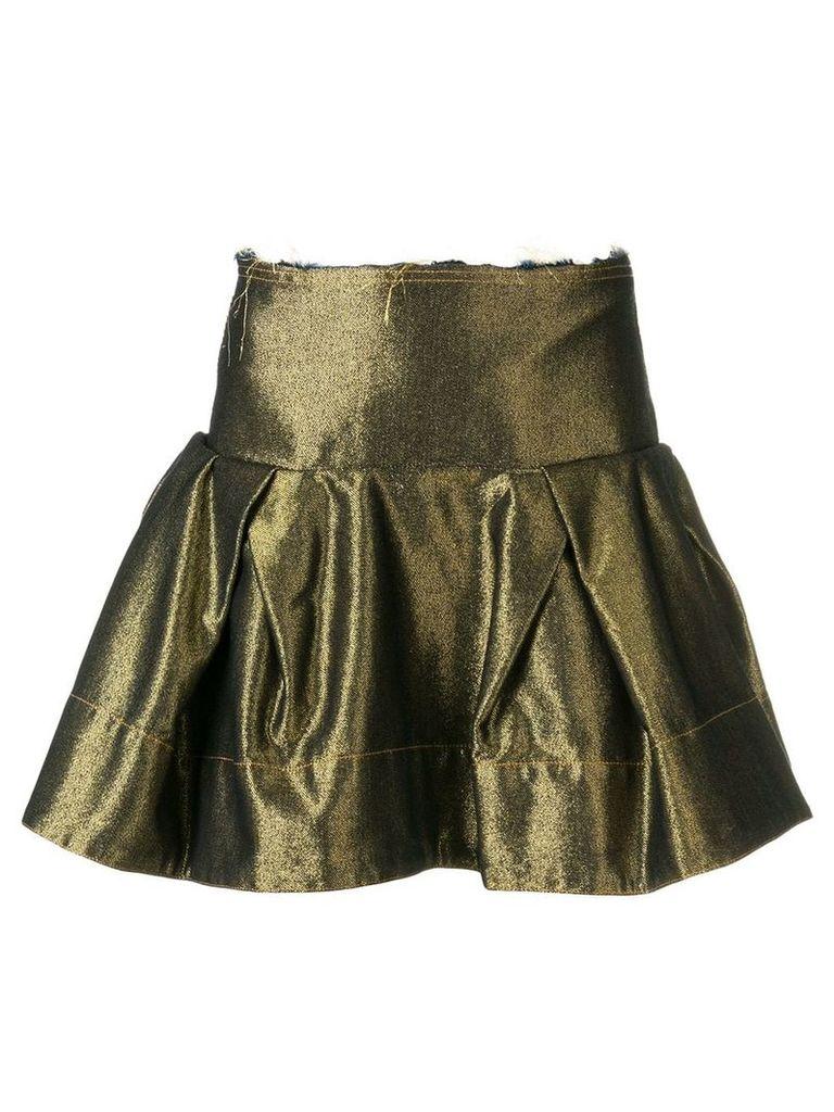 Marques'Almeida metallic ruffled denim skirt - Gold