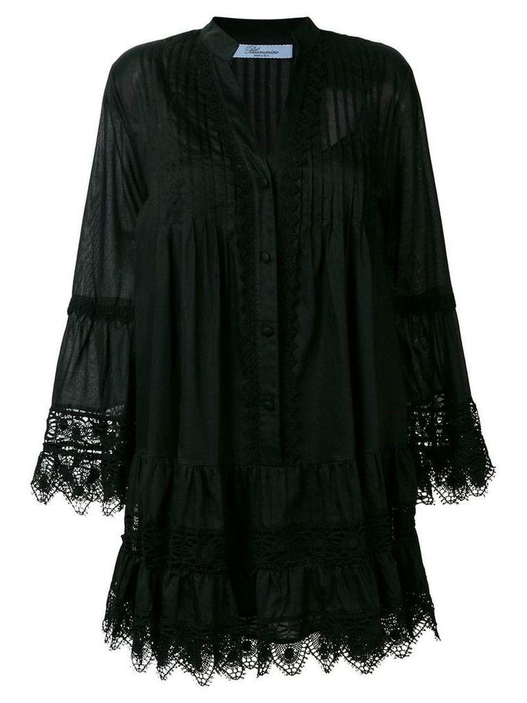 Blumarine lace trim shirt dress - Black