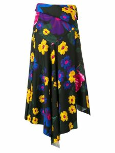 Marques'Almeida floral asymmetrical drape skirt - Black