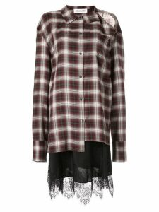 Ground Zero cut-out checked shirt - Red