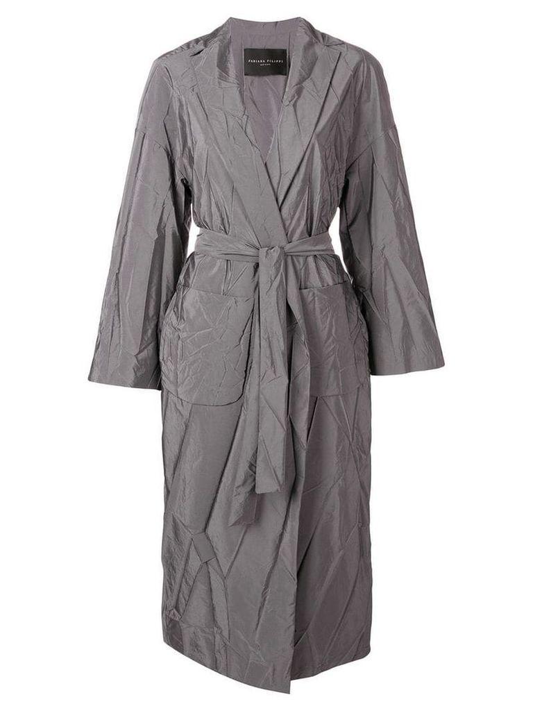 Fabiana Filippi wrinkled effect trench coat - Grey