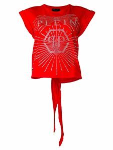 Philipp Plein rhinestone-embellished logo T-shirt - Red