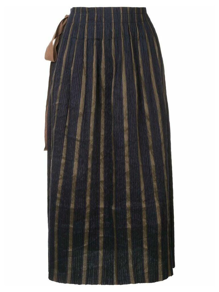 Uma Wang knot-detail pleated skirt - Blue