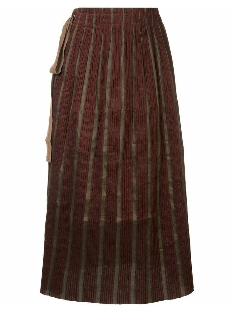 Uma Wang knot-detail pleated skirt - Red