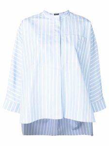 Jil Sander Navy striped collarless shirt - Blue