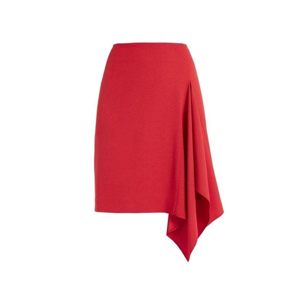 WtR Sheena Red Crepe Asymmetric Drape Skirt