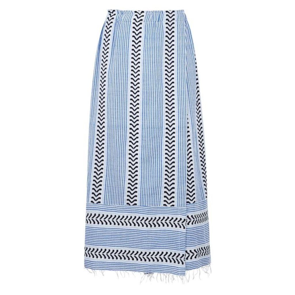 Lemlem Kesiti Striped Cotton-blend Midi Skirt