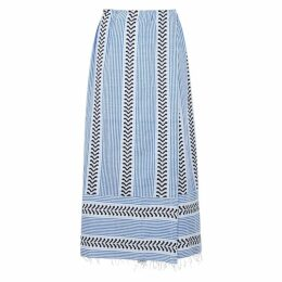 Lemlem Kesiti Striped Cotton-blend Midi Skirt