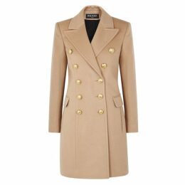 Balmain Camel Wool-blend Coat