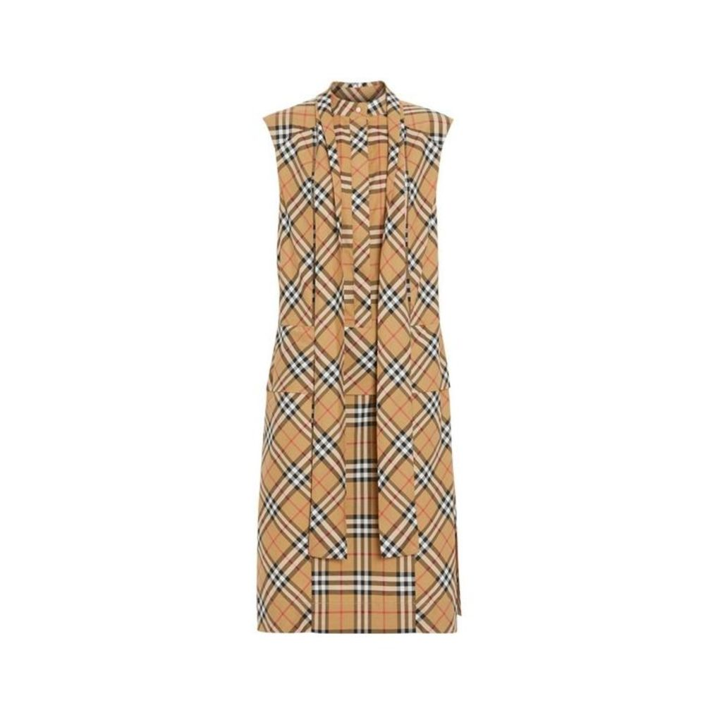 Burberry Vintage Check Cotton Tie-neck Dress