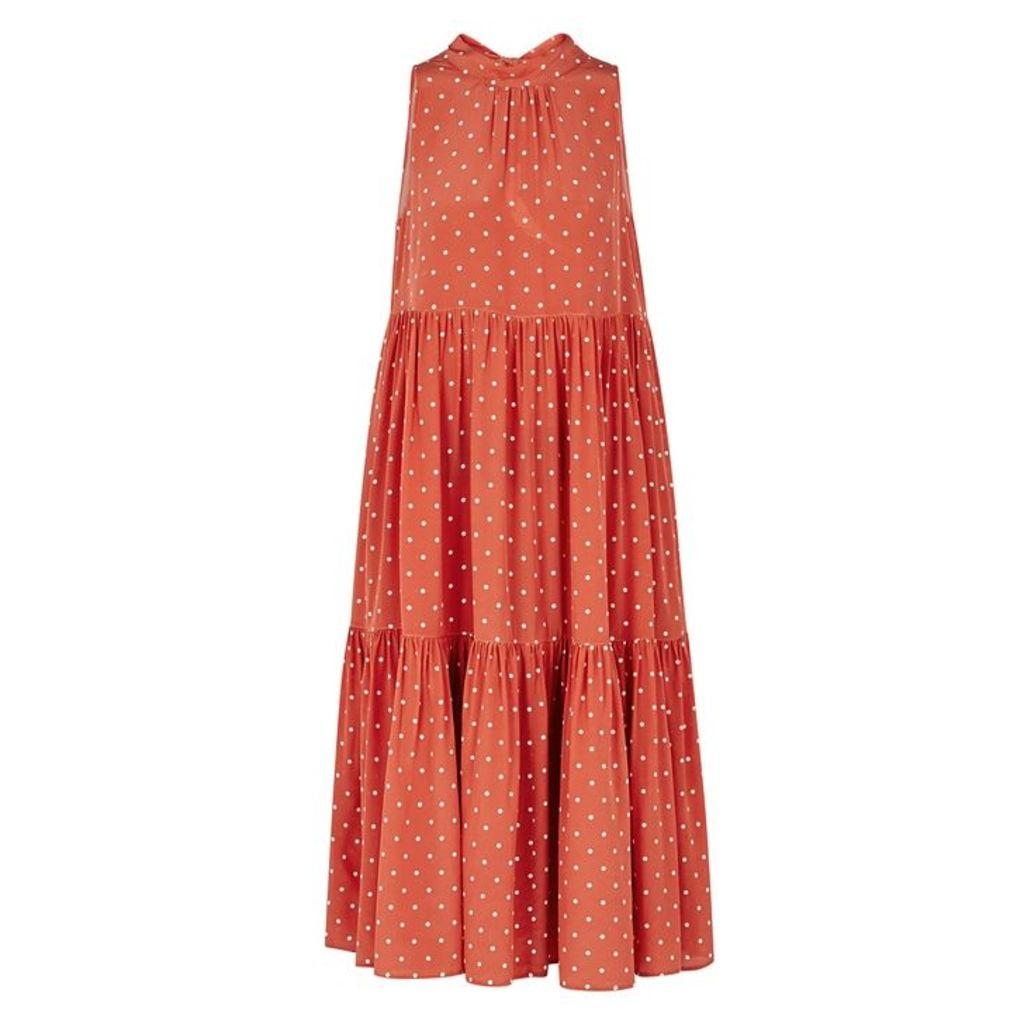 ASCENO Polka-dot Silk Midi Smock Dress