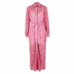 Victoria, Victoria Beckham Checked Cotton And Silk-blend Shirt Dress