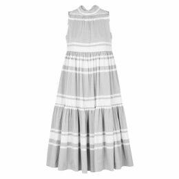 ASCENO Striped Cotton Midi Smock Dress