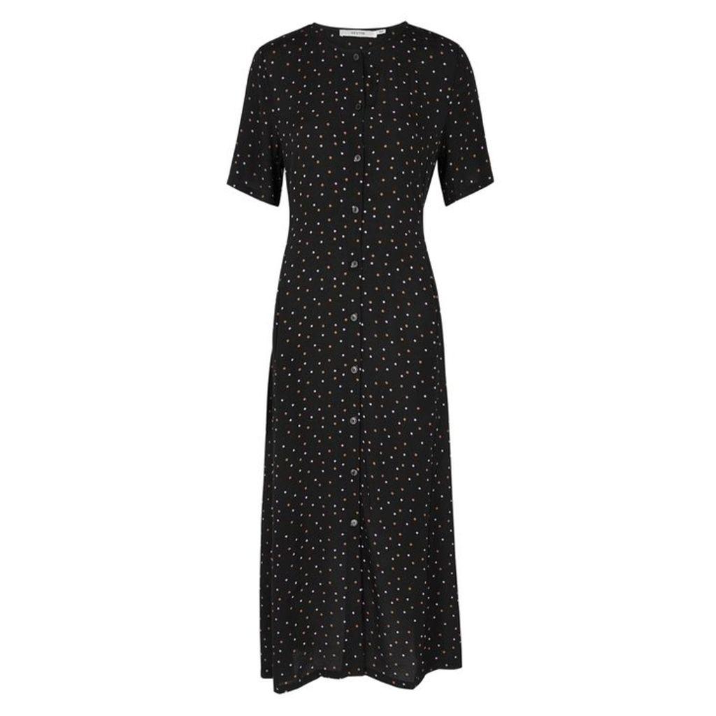 Gestuz Harper Black Crepe Midi Dress