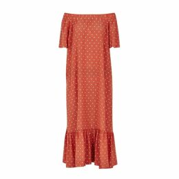 ASCENO Polka-dot Silk Maxi Dress