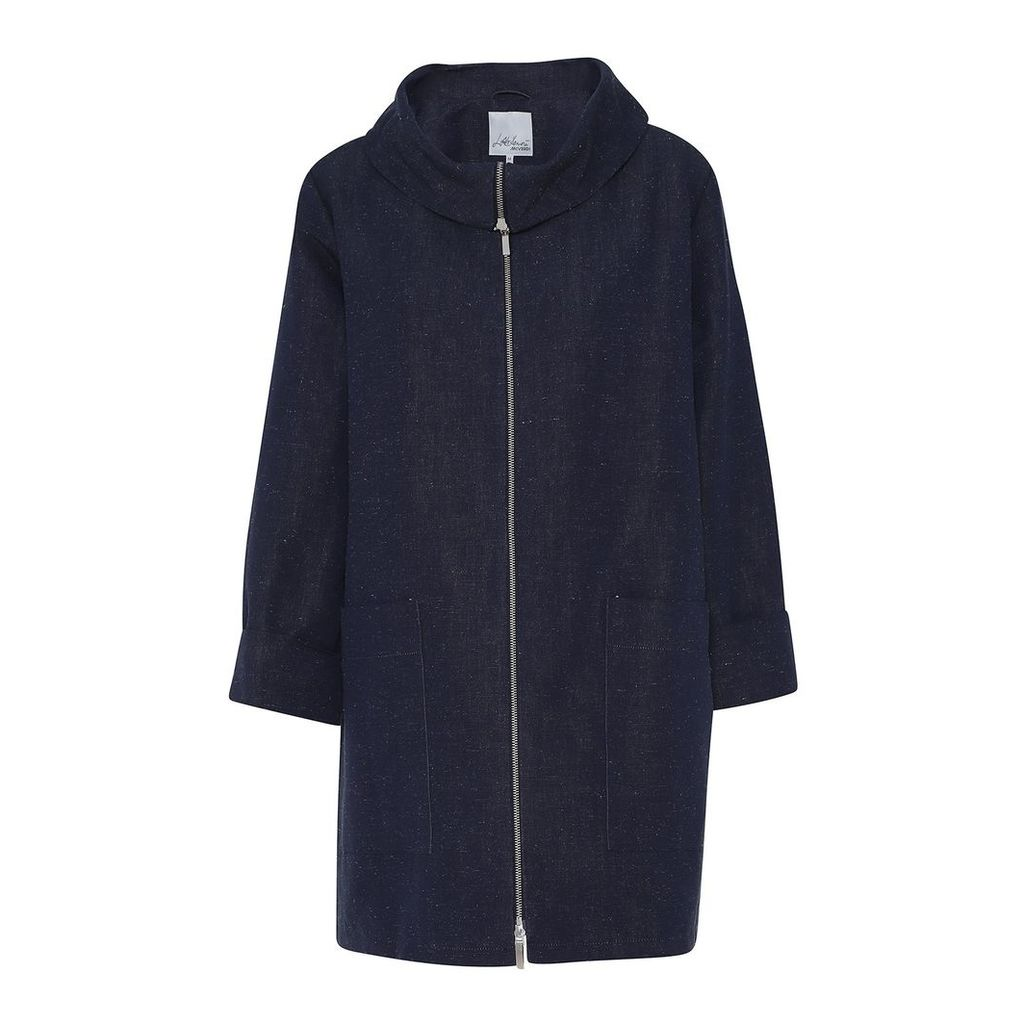 McVERDI - Oversize Spring Coat With Sculptural Collar In Marine Blue