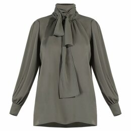 GISY - Abbey Moss Green Pussy-Bow Blouse