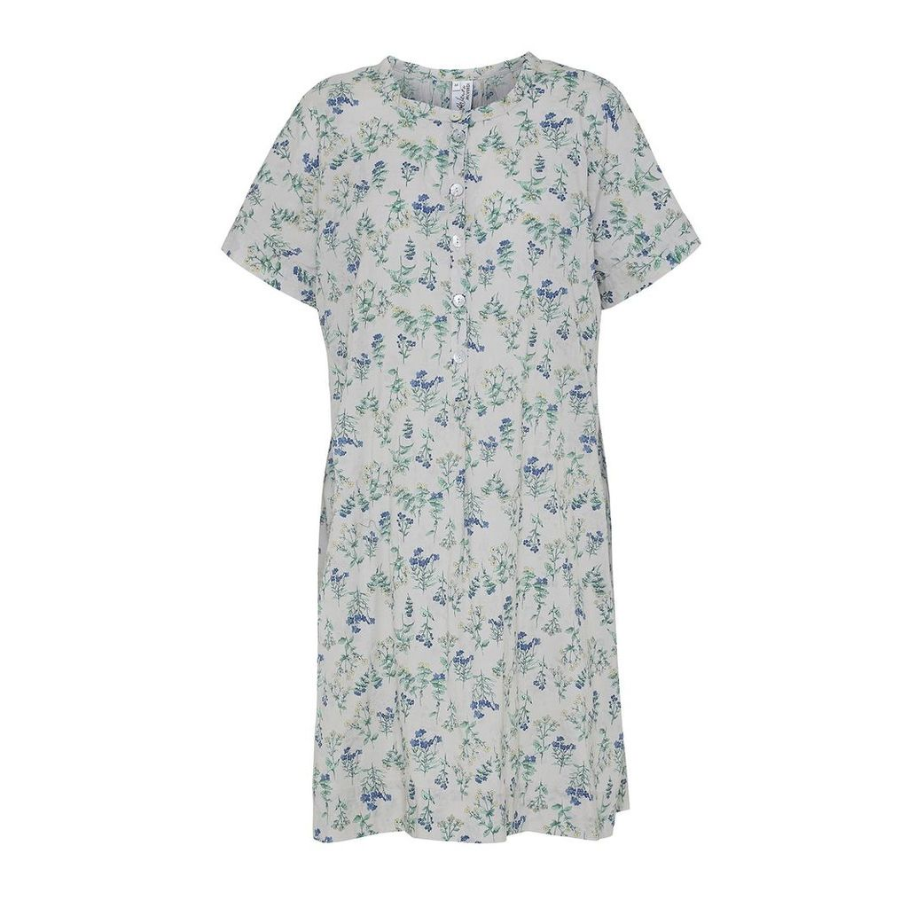 McVERDI - Light Grey Tunic Dress With Flower Print