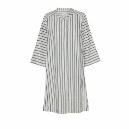 McVERDI - Striped White Long Shirt With Snap-Buttons