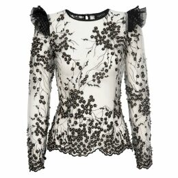 McVERDI - Striped White Round Cut Skirt