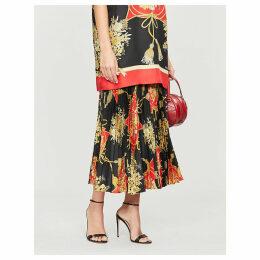 Floral-pattern silk midi skirt
