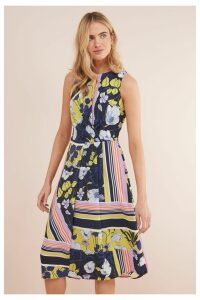 Womens Next Navy/Yellow Floral Printed Dress -  Blue