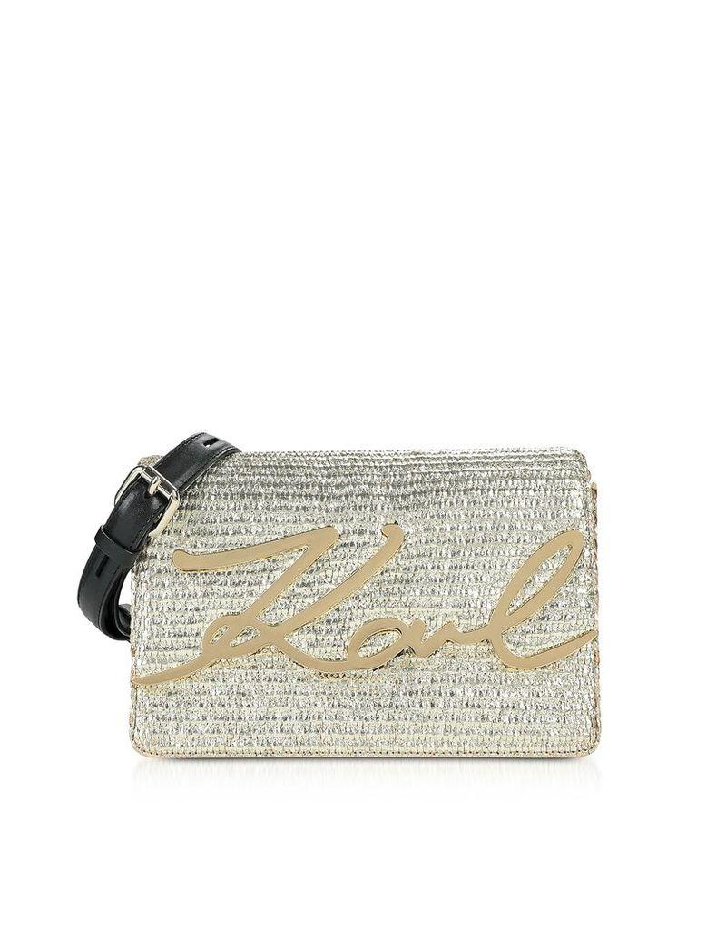 Karl Lagerfeld Designer Handbags, K/Signature Raffia Shoulder Bag