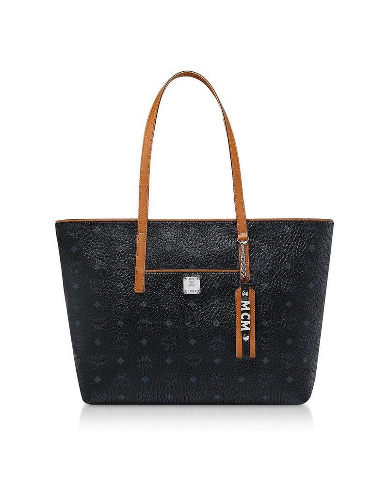 MCM Designer Handbags, Black Visetos Anya Top Zip Shopping Bag
