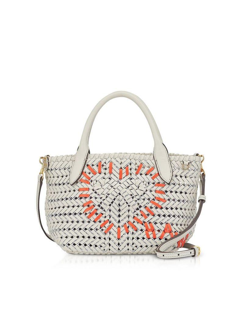 Anya Hindmarch Designer Handbags, Chalk Calf Leather The Neeson Mini Heart Tote