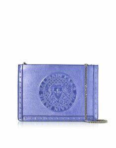 Balmain Designer Handbags, Iris Laminated Leather Mini Domaine Clutch