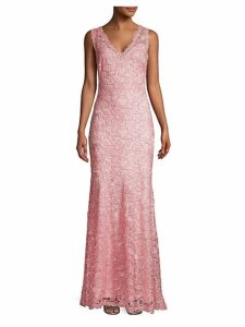 Rose Lace V-Neck Gown
